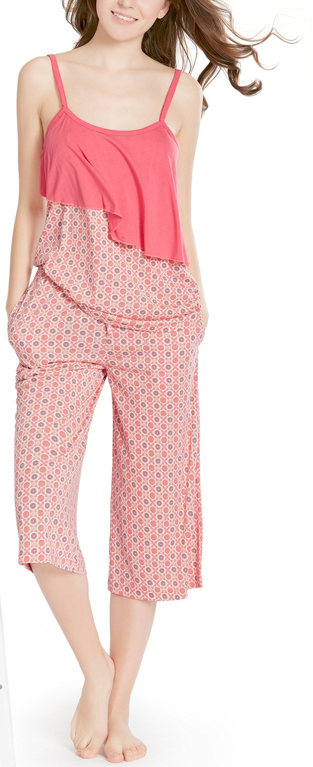 Summer Pajamas for Women, Camisole Capri Pajama for Woman - Pjs Women Tank Tops Lounge Capris Sets Sunbrella M