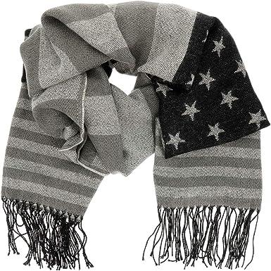 SHIPITNOW Bufanda con Bandera Americana - Bufanda de Algodón Gruesa y Suave - Acabado con Flecos - Bufanda mujer o hombre Invierno USA (Negro y Gris): Amazon.es: Ropa y accesorios