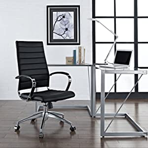 Modway Jive Ribbed High Back Tall Executive Swivel Office Chair With Arms In Black
