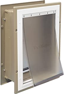 PetSafe Wall Entry Aluminum Pet Door with Telescoping Tunnel Taupe and White