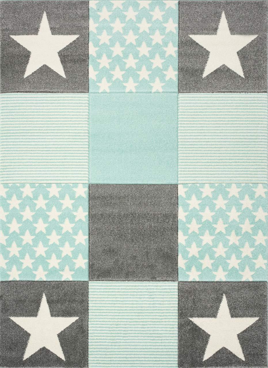 Livone Spielteppich Moderner Teppich mit Konturenschnitt Kinderzimmer Kinderteppich mit Sternen in Weiss Silber grau Mint Größe 120 x 170 cm