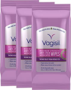 Vagisil Anti-Itch Medicated Feminine Vaginal Wipes, Maximum Strength, 20 Wipes (Pack of 3, Packaging May Vary)