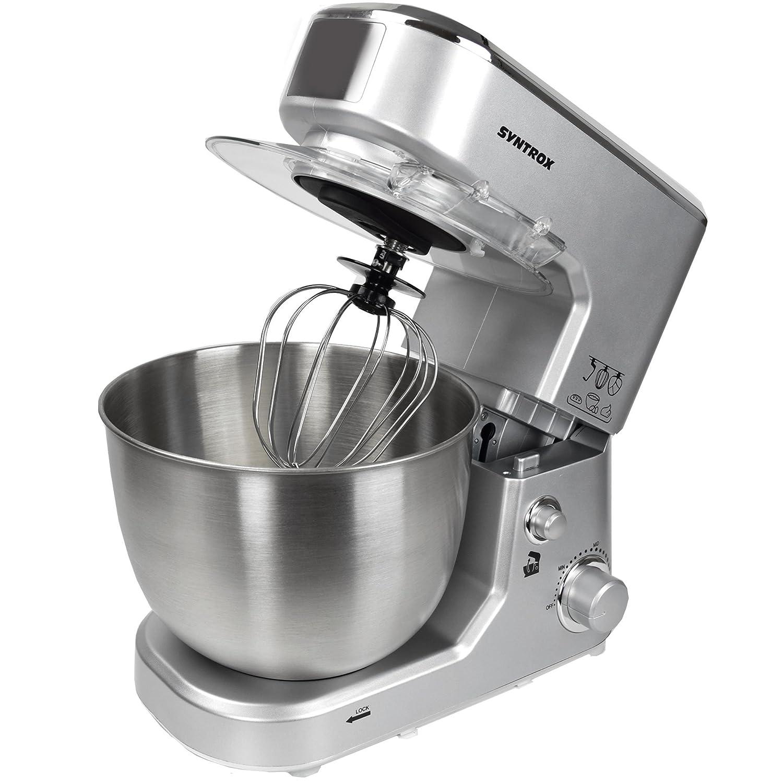 Syntrox Germany KM-1000W Robot de cuisine /à p/étrir avec r/écipient en acier inoxydable Argent/é 5 l