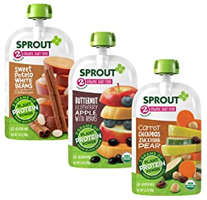 Sprout Organic Stage 2 Plant Protein Variety Pack, Sweet Potato White Bean, Carrot Chickpea Zucchini Pear, Butternut Blueberry Apple, (Pack of 18)