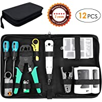 Fixkit Network Tool Kit- Crimping Toolkit For Network Cables: Test, Tools, Connectors Pro Reparatie Onderhoud LAN RJ45 RJ11 CAT5E CAT6 TV Kabel Tester Crimp Stripper Tool Set, Geschikt voor Huishouden, Werk of Doe-het-zelf