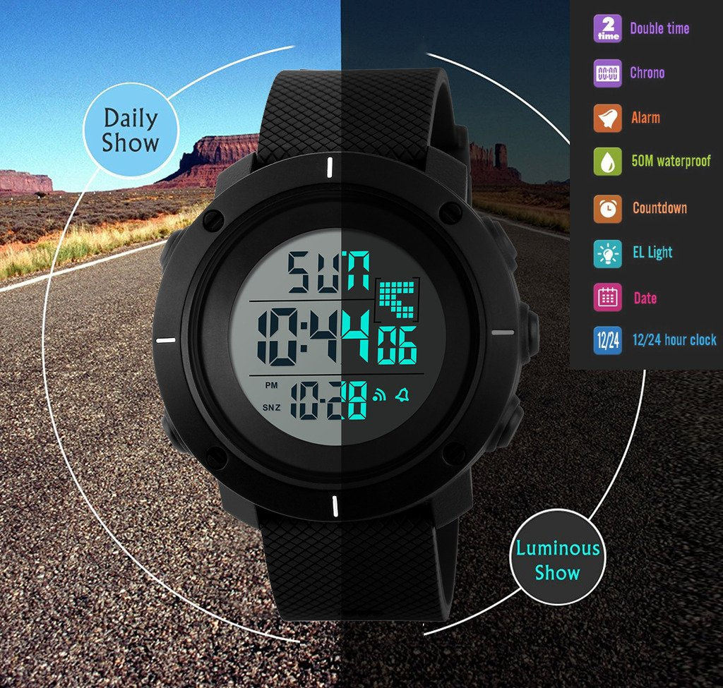 Boys Digital Watch -Kids Sports Waterproof Outdoor Watch with Alarm Stopwatch Wrist Watches for Childrens by SEEWTA (Image #2)