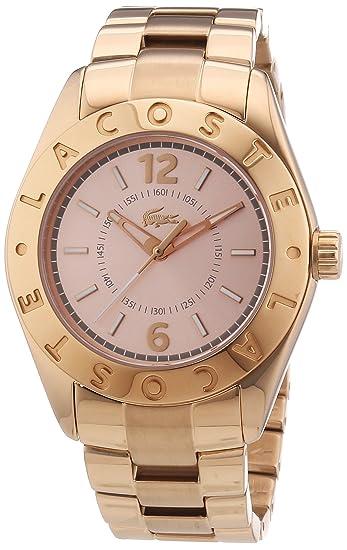 Lacoste 2000754 - Reloj analógico de cuarzo para mujer con correa de acero inoxidable, color dorado: Amazon.es: Relojes