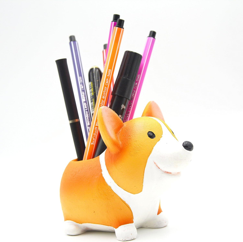 MONMOB Creative Pen Pencil Brush Holder Pot Stylish Storage Container Desk Organizer Decoration Accessories Succulent Plant Pot Office School Gift (Corgi A)