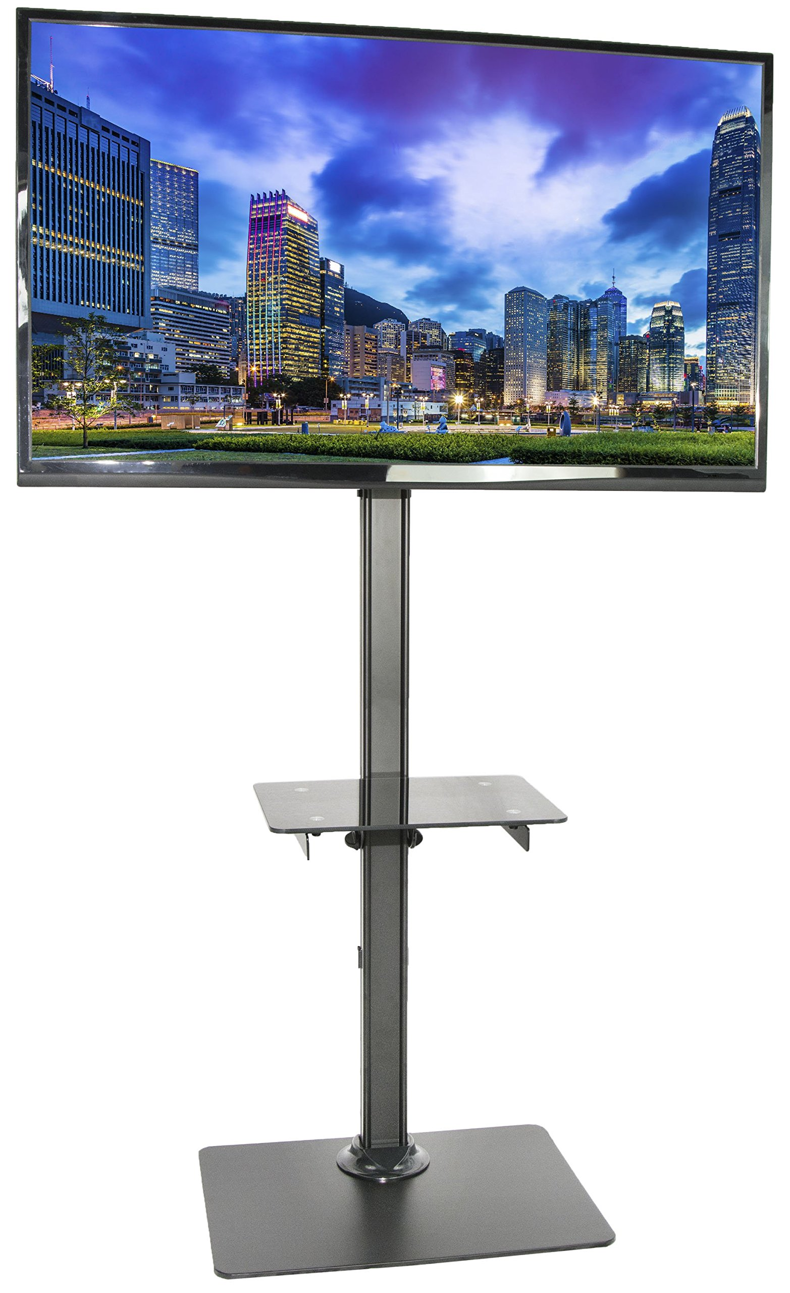 VIVO Black Steel and Glass Shelf TV Presentation Floor Stand LCD LED Plasma Flat Screen Stationary Mount fits 13'' to 55'' Screens (STAND-TV08)
