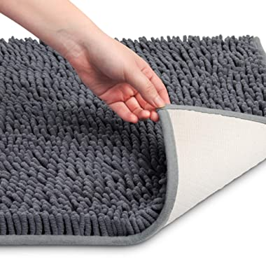 VDOMUS Soft Microfiber Shag Bath Rug, Extra Absorbent and Comfortable, Anti-slip,Machine-Washable Large Bathroom Mat, 32  x 20 , Grey