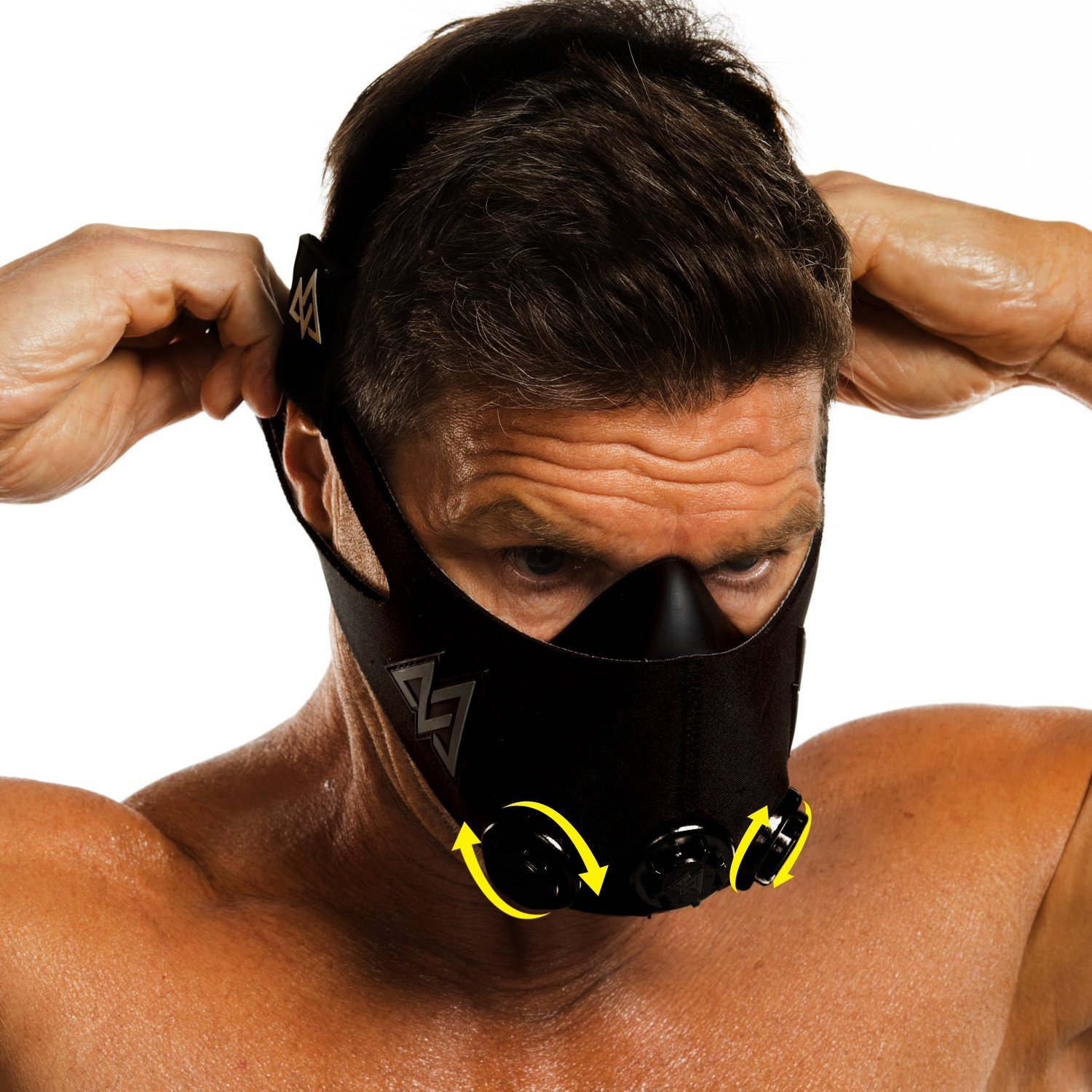 Training Mask 2.0 Workout Fitness Mask for Running and Breathing Resistance Training, Elevation Mask, Cardio Mask, Endurance Mask for Fitness (Black + Turn Flow, Medium)
