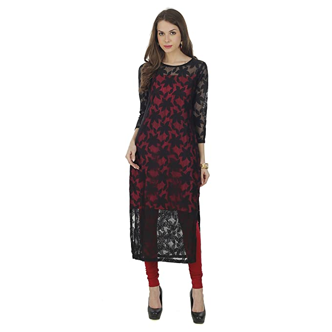 f8a8ed1f0 The Bebo Red   Black Pure Nylon Net Straight Elegant Kurti for Womens    Girls (. Roll over image to zoom in
