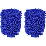 SLY Car Wash Mitt - Double Side Premium Chenille Microfiber - Ultra-soft Wash Glove for Car Cleaning - Scratch-Free Not Fall Wool - 2 Pack