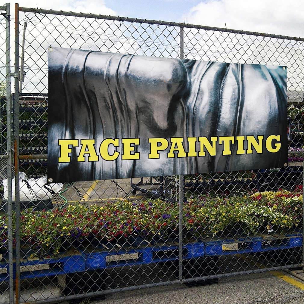 Vinyl Banner Multiple Sizes Face Painting Outdoor Advertising Printing A Business Outdoor Weatherproof Industrial Yard Signs Grey 8 Grommets 48x96Inches