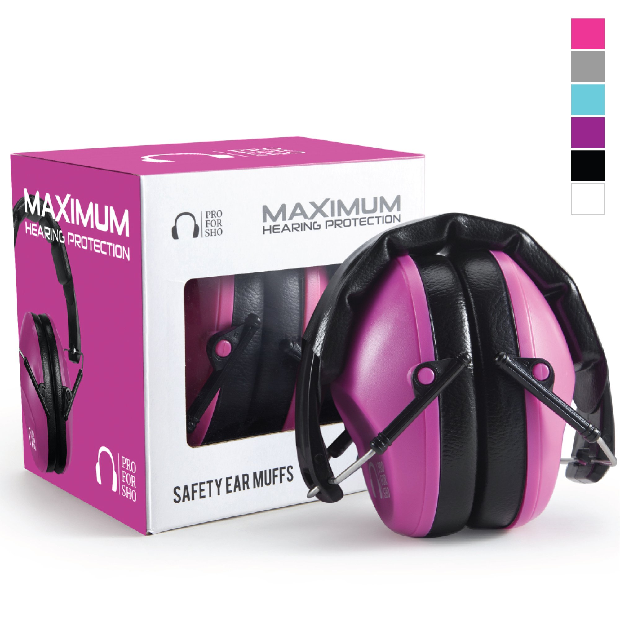 Pro For Sho 34dB Shooting Ear Protection - Special Designed Ear Muffs Lighter Weight & Maximum Hearing Protection - Standard Size, Pink by Pro For Sho