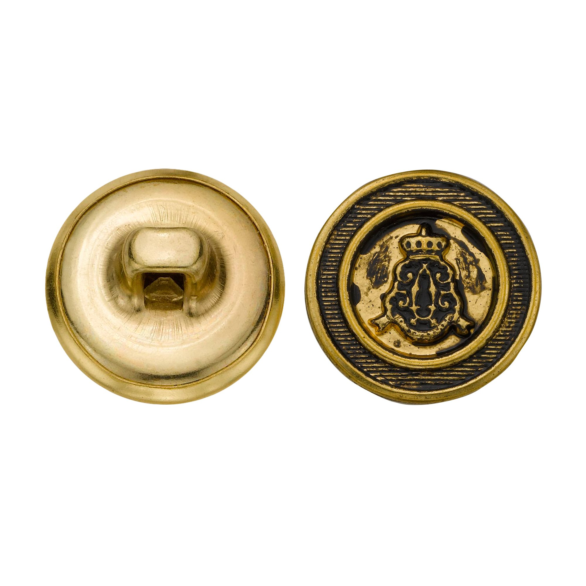 C&C Metal Products 5199 Fancy Royal Metal Button, Size 24 Ligne, Antique Gold, 72-Pack