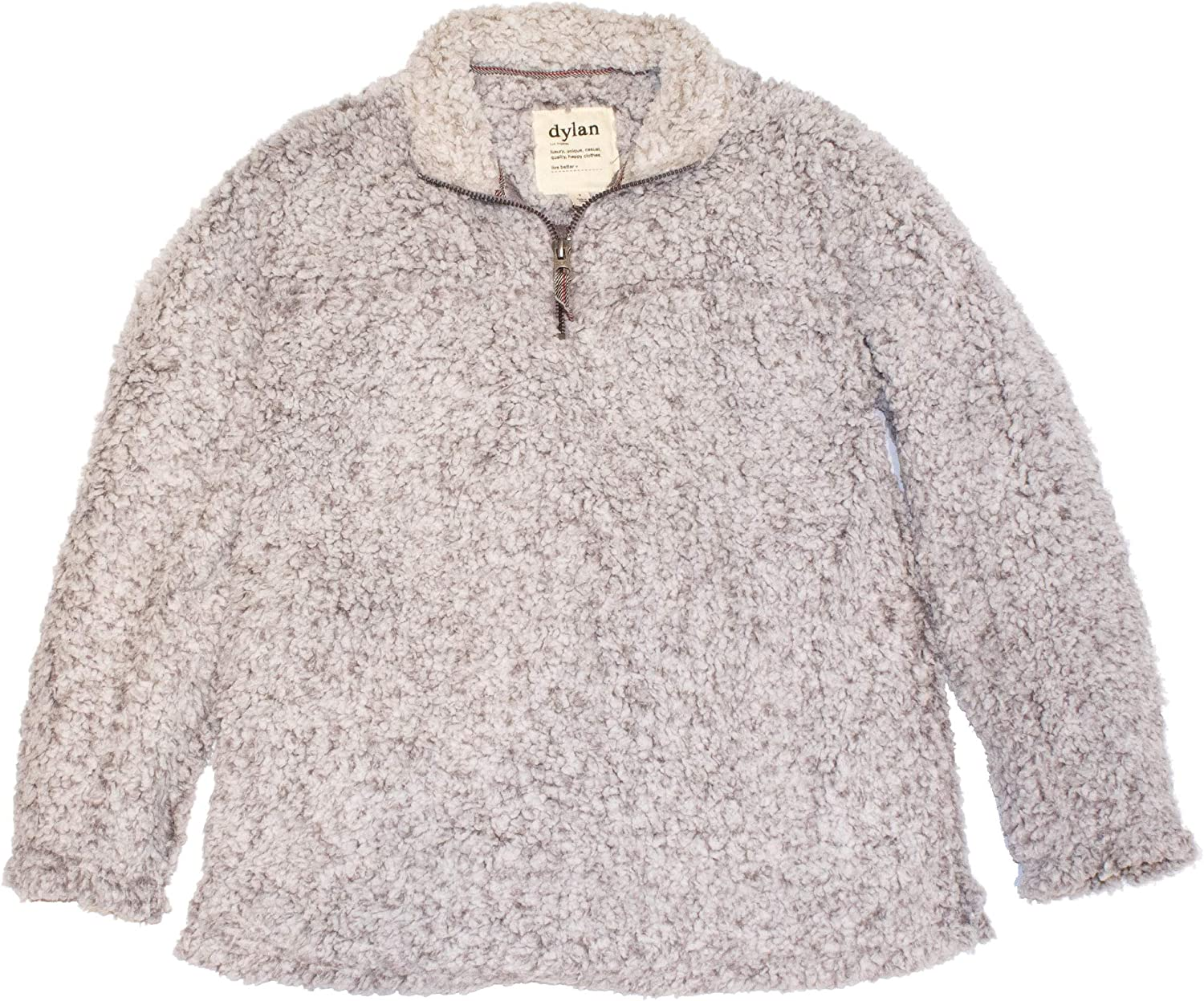 Dylan by True Grit Frosty Tipped Pile 1/4 Zip Stadium Pullover Heather LG