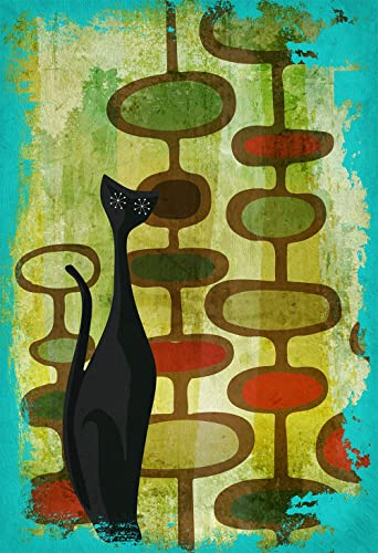 Mid Century Modern Print Cat Abstract Art Print Poster Giclee on Cotton  Canvas and Paper Canvas
