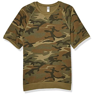 Alternative Men's Short Sleeve Sweatshirt, Camo, X-Small at Amazon Men's Clothing store