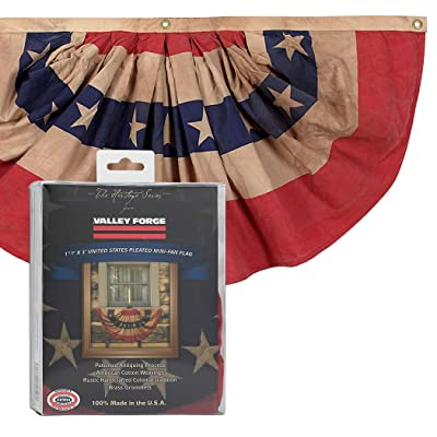 Valley Forge, Bunting Banner, Cotton 1.5' x 3', 100% Made in USA, Heritage Series, Antiqued Striped Mini Bunting with Stars : Garden & Outdoor
