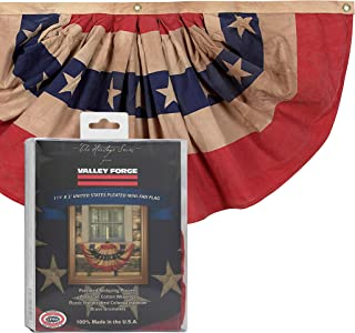product image for Valley Forge, Bunting Banner, Cotton 1.5' x 3', 100% Made in USA, Heritage Series, Antiqued Striped Mini Bunting with Stars