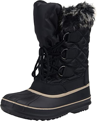 Womens Classic Lace Mid-Calf Flat Fur Short Snow Boot Winter Shoes for Sport Warm