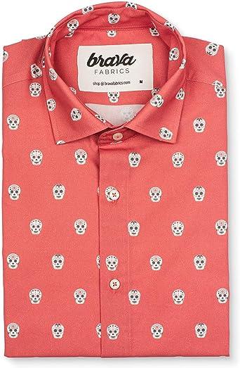 Brava Fabrics | Camisa Hombre Manga Corta Estampada | Camisa Roja para Hombre | Camisa Casual Regular Fit | 100% Algodón | Modelo Calavera Catrina | Talla 3XL: Amazon.es: Ropa y accesorios
