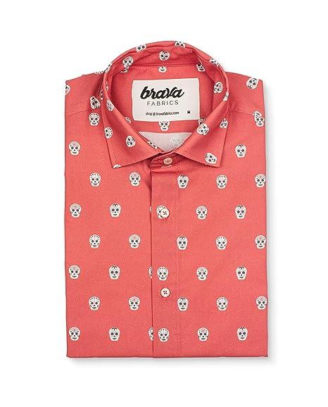 Brava Fabrics Camisa Hombre Manga Corta Estampada Camisa Roja Para Hombre Camisa Casual Regular Fit 100 Algodón Modelo Calavera Catrina
