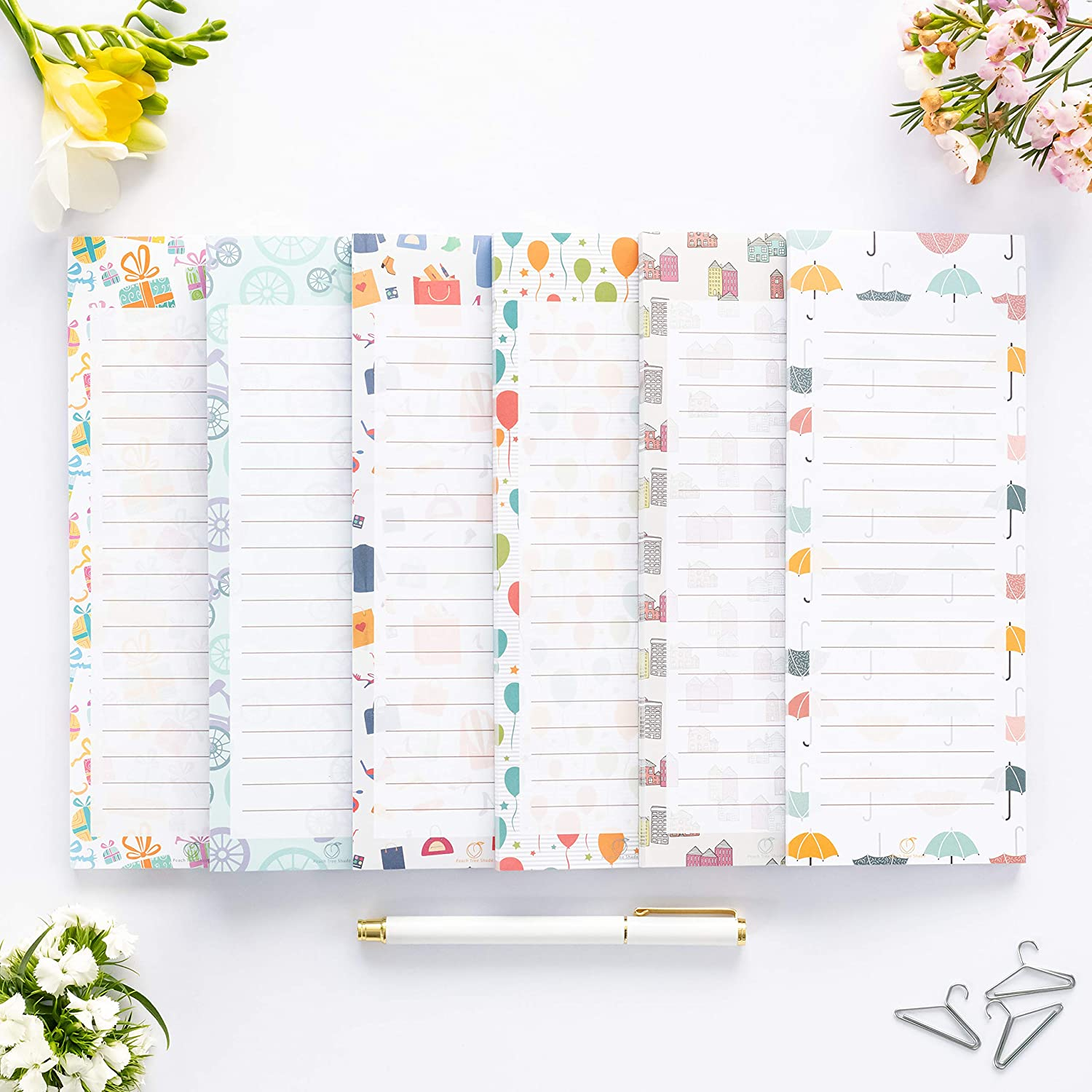 """Peach Tree Shade Magnetic Notepads, 6-Pack 60 Sheets Per Pad 3.5"""" x 9"""", for Fridge, Kitchen, Shopping, Grocery, To-Do List, Memo, Reminder, Note, Book, Stationery, (Cutenotes)"""