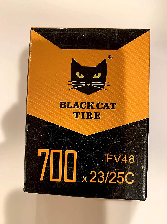 Black Cat Road Bike Inner Tube 700x23c with 48 mm Presta Valve