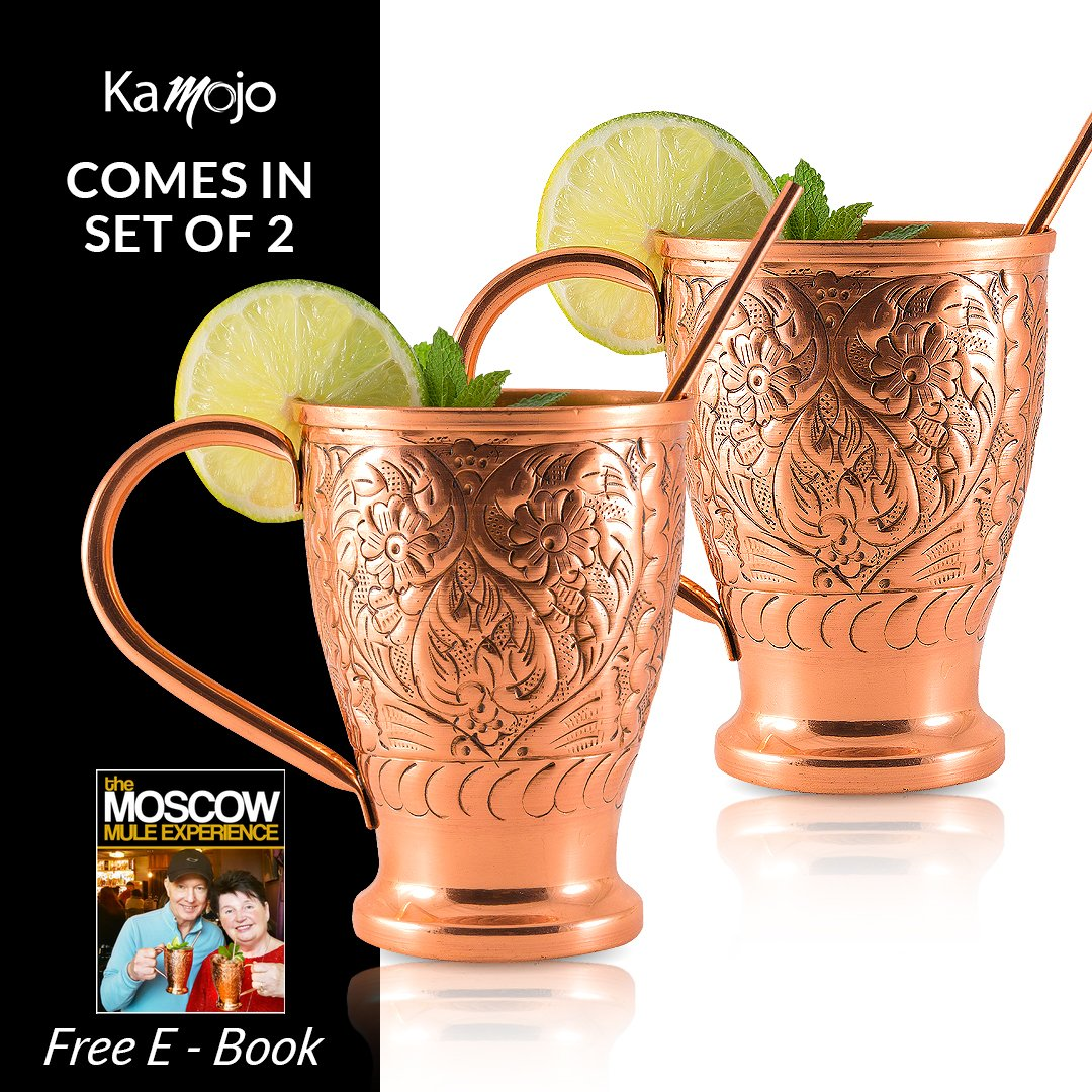 Moscow Mule Copper Mugs | Stunning Embossed Gift Set of 2 Pure Copper Cups | Bonus Straws By Kamojo