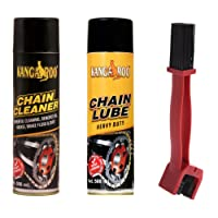 KANGAROO Chain Lubricant Spray and Cleaner with Brush, 500ml (Brown, CLCLB500)