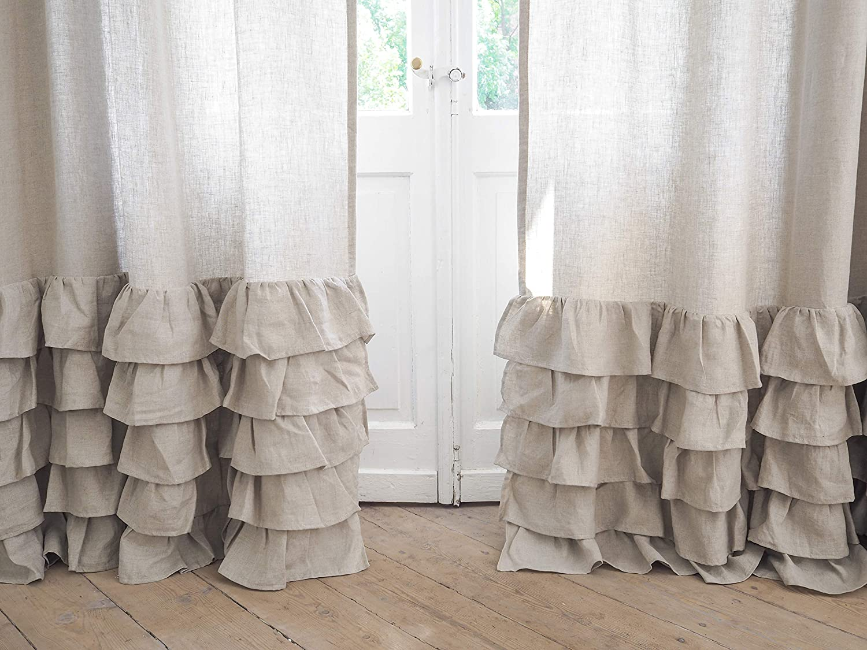 Natural rod pocket linen curtain panel Custom length Linen drapes