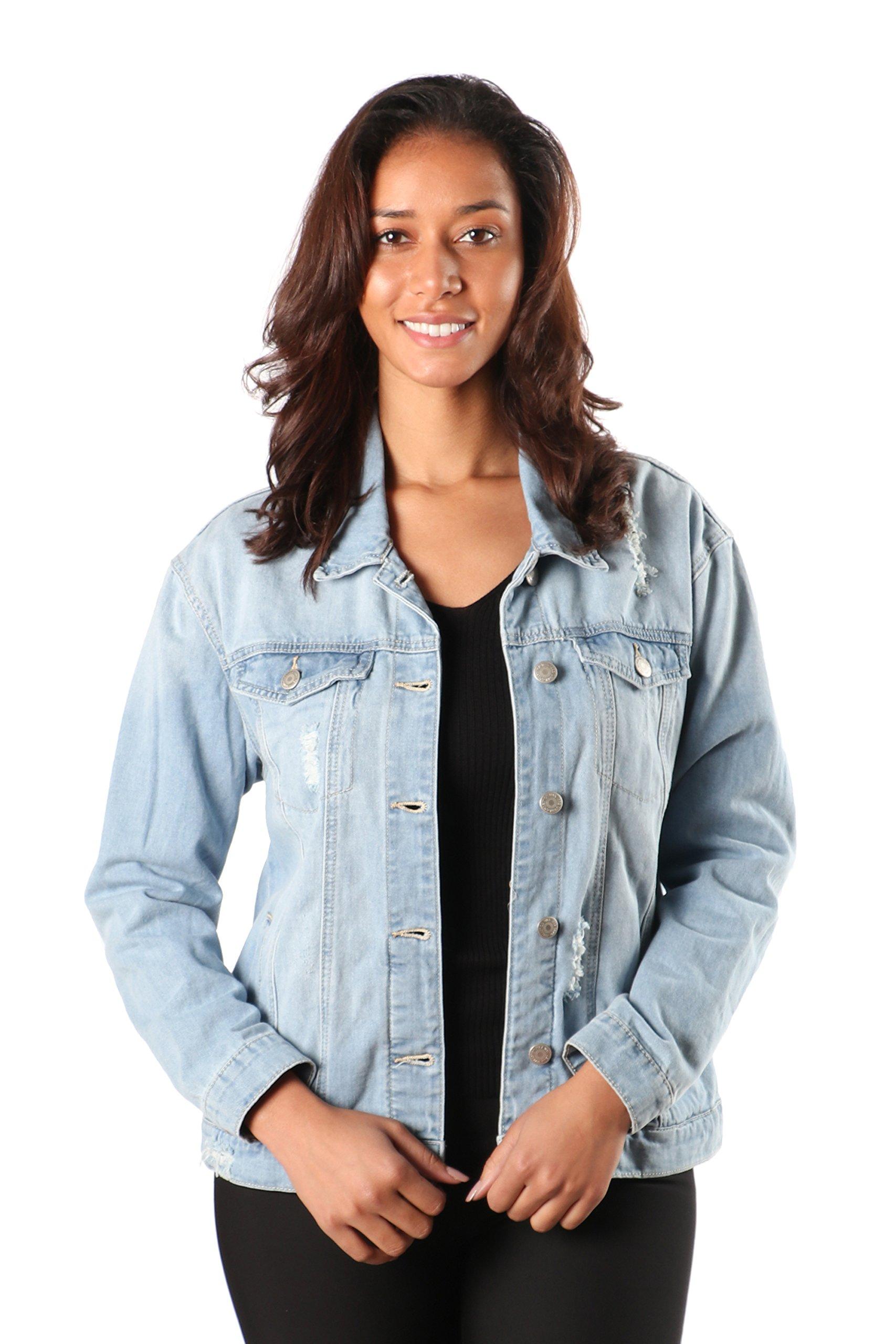 SWTD Womens Classic Style Vintage Destroyed Accent Button Down Denim Trucker Jackets (Small, Light DENIM-90091)
