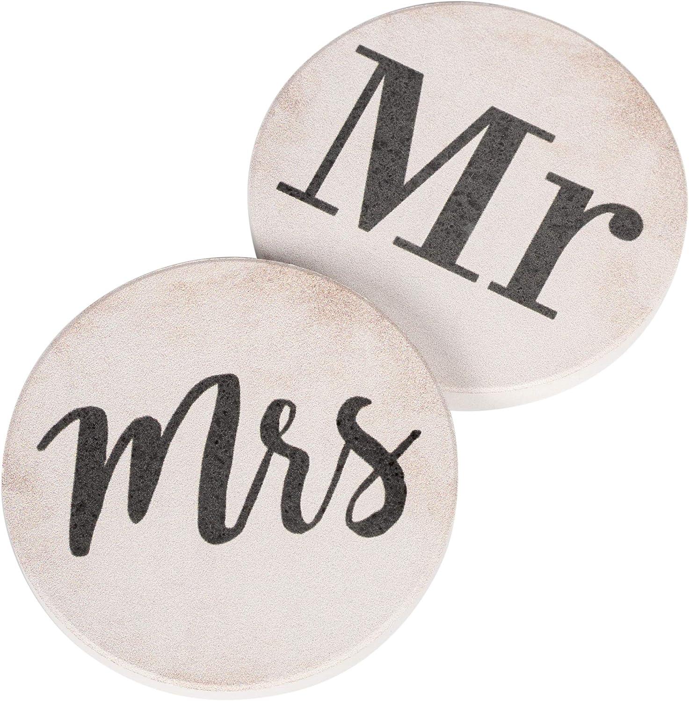 Mr & Mrs Black White 2.75 x 2.75 Absorbent Ceramic Car Coasters Pack of 2