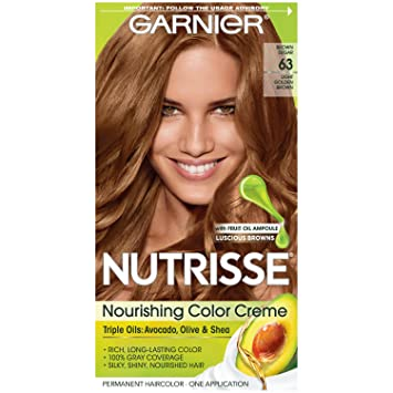 Captivating Garnier Nutrisse Nourishing Hair Color Creme, 63 Light Golden Brown (Brown  Sugar) ( Good Looking