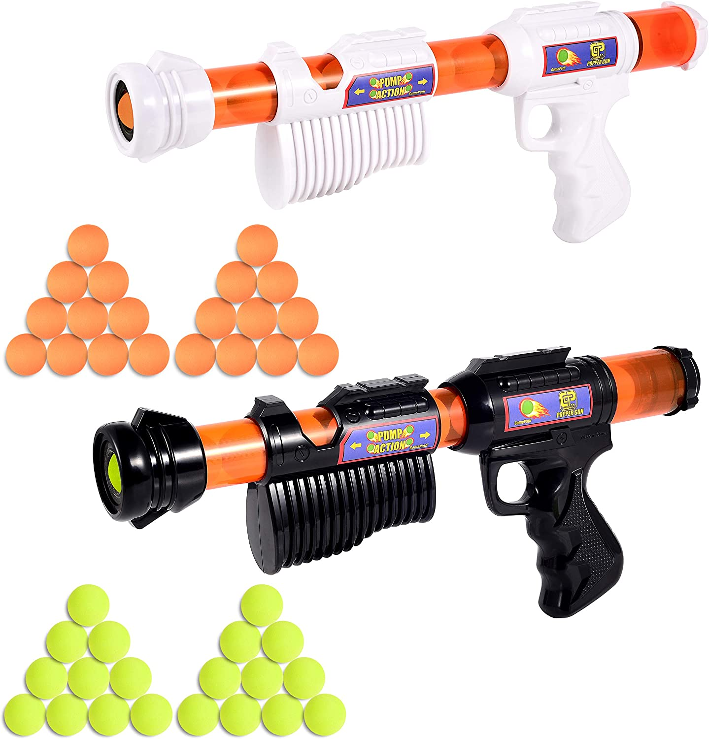GamePath 2 pcs Power Popper Gun Dual Battle Pack Foam Ball Play Guns, Toy Guns for Kids Adults -- 40 pcs Soft Foam Balls