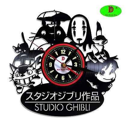 Unique Gift Hogar Hombres Theme Para Diy Decoración Negro Reloj Art Ghibli Pared 3d Vinilo Personalizado Creativo Idea De Studio Box Anime El QstdhCxr