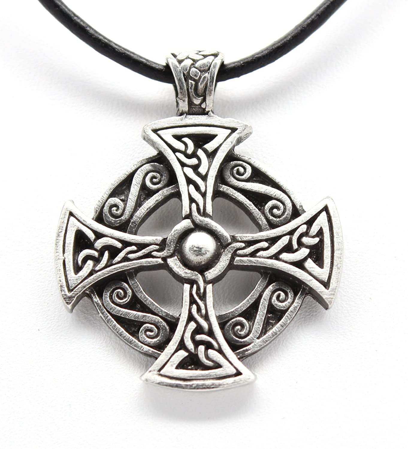 Amazon pewter solar cross celtic druid pagan irish pendant on amazon pewter solar cross celtic druid pagan irish pendant on leather necklace moon and cross jewelry aloadofball Image collections