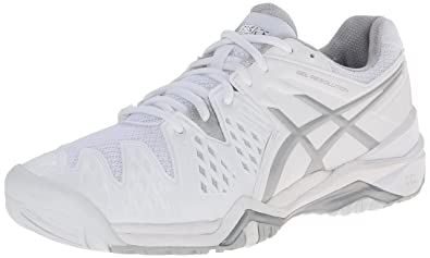 c0a178f5a68e ASICS Women s GEL-Resolution 6 White Silver 5 B - Medium