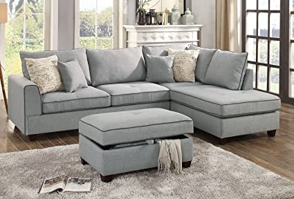 3Pcs Modern Light Grey Dorris Fabric Reversible Sectional Sofa Chaise  Storage Ottoman With 4 Accent Pillows
