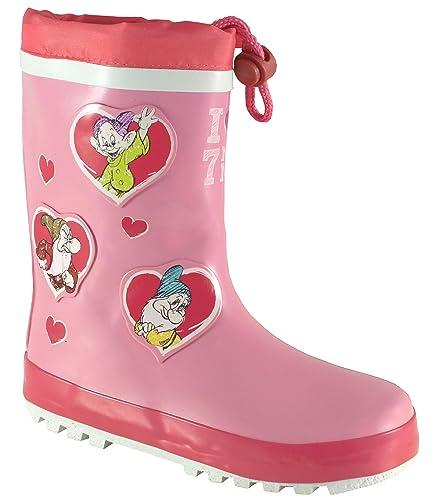 c72703cfd6bf Disney Seven Dwarfs Girls Wellington Rain Boots Drawstring 100% Rubber  Character Gumboot Wellies Junior 5