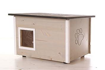 Caseta de gato con calefacción, suelo y paredes con aislamiento, color gris: Amazon.es: Productos para mascotas