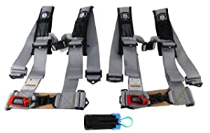 """Pro Armor A114230OR(x2) P151100 4 Point 3"""" Harness w Override Clip - Silver 2 PACK"""