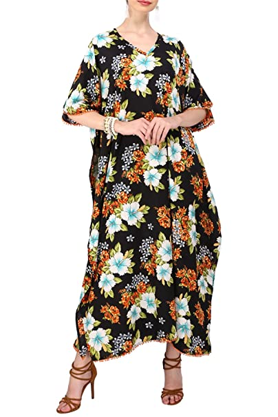 Miss Lavish Women\'s Kaftan Dresses Tunic Kimono Maxi Caftan Plus Size  Lounge Dress