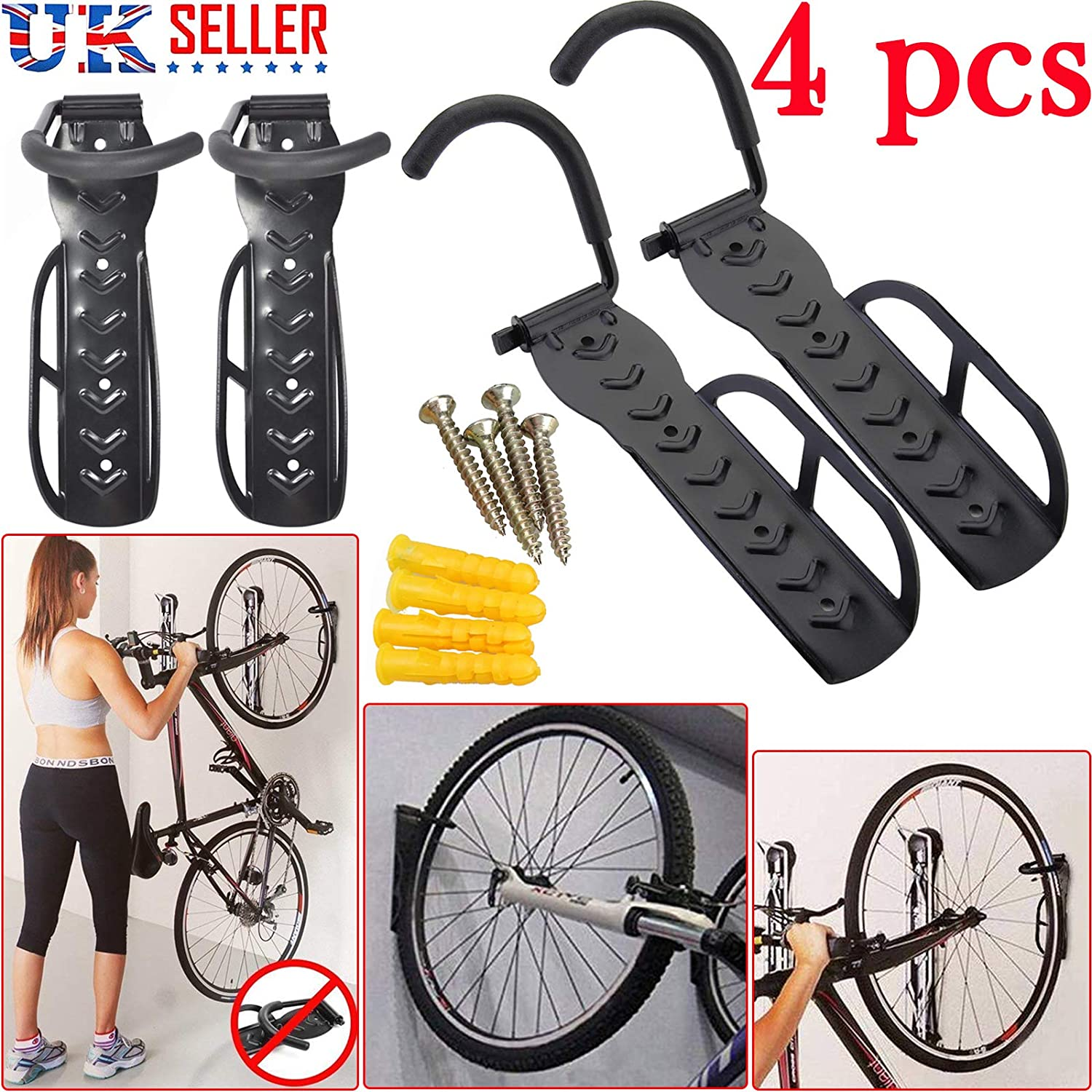 Cycling Bike Storage Garage Wall Mount Rack Hanger Bike Steel Hook Stand Holder