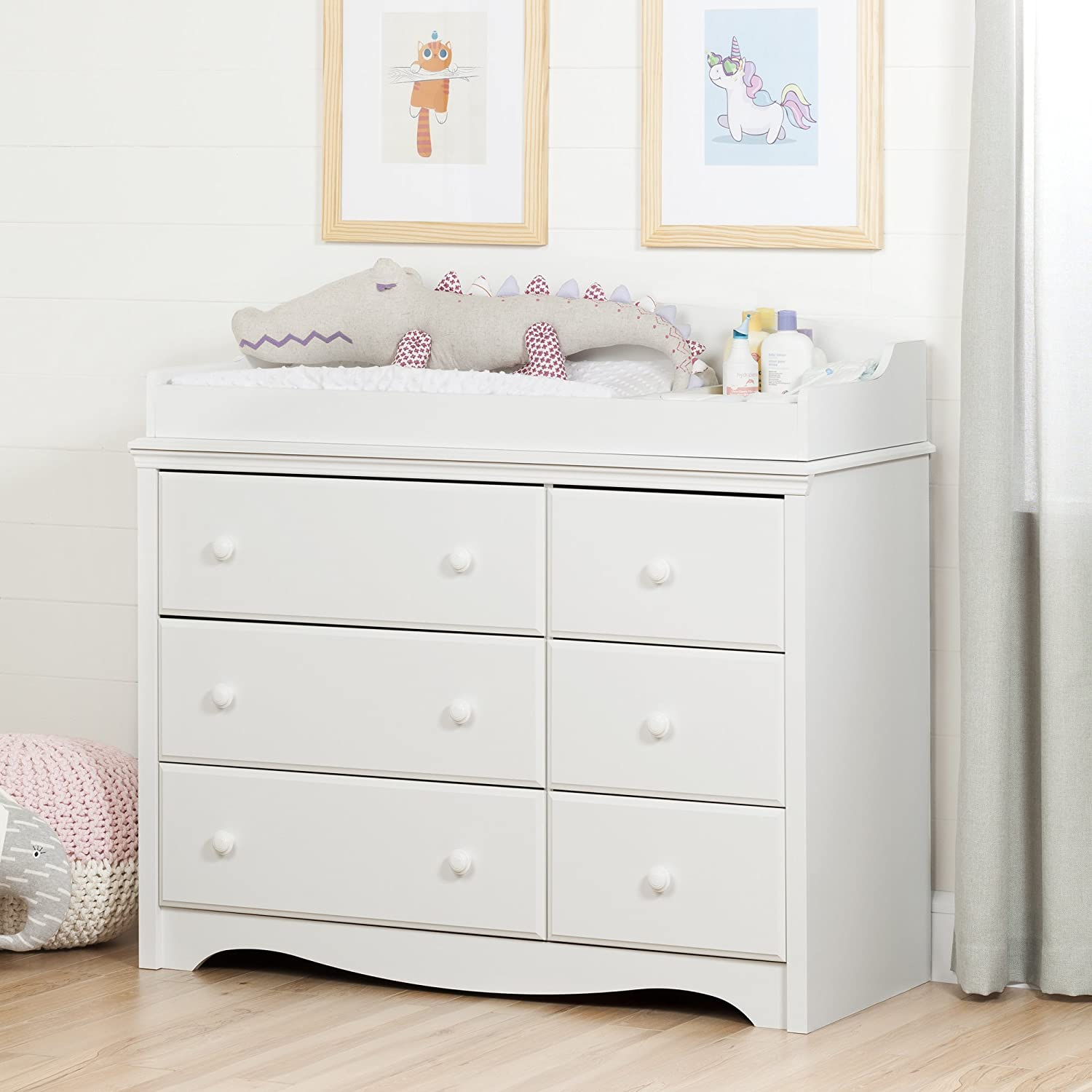 Amazon.com : South Shore Furniture Angel Changing Table With 6 Drawers,  Pure White : Baby