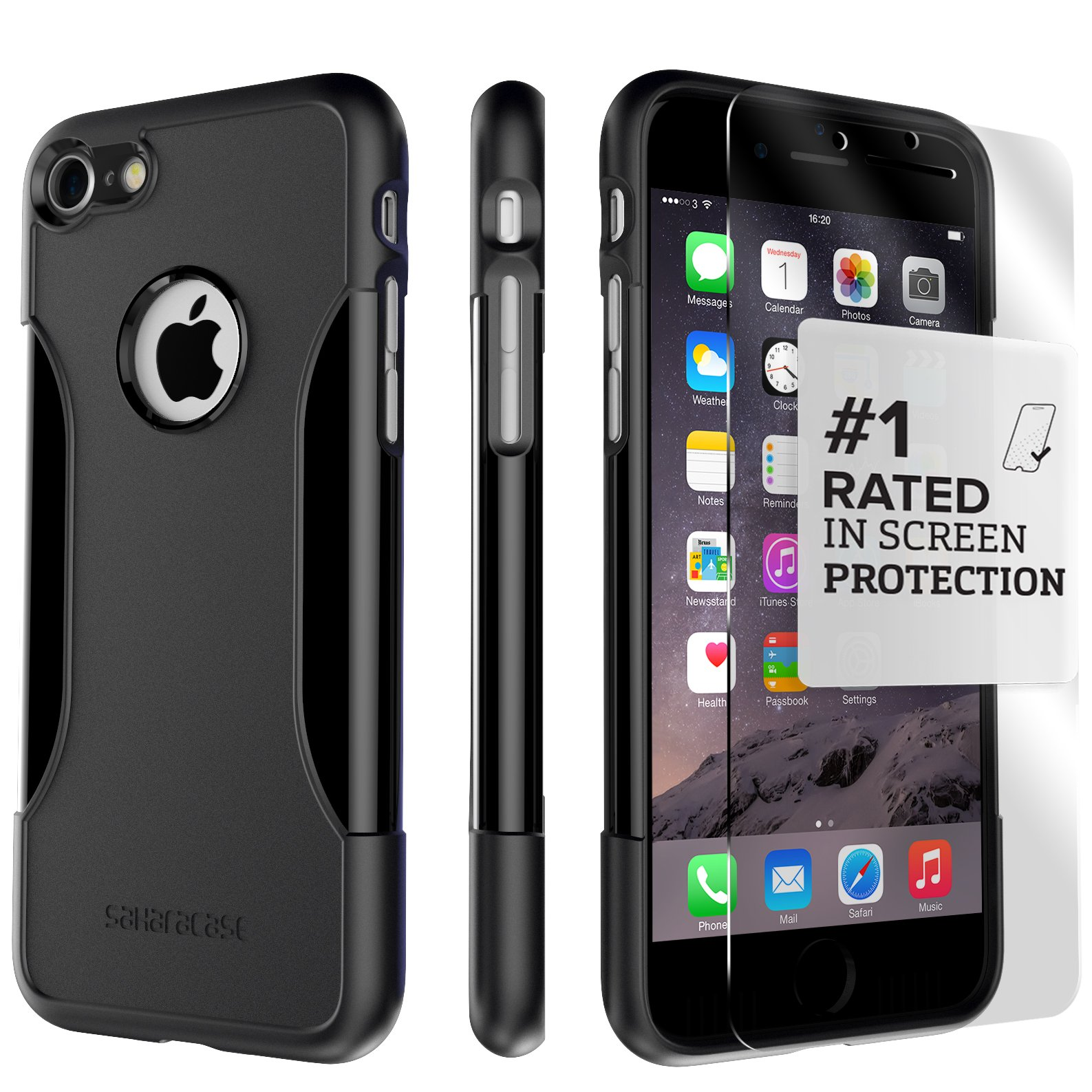 iPhone 8 Case and 7 Case, SaharaCase Protective Kit Bundle with [ZeroDamage Tempered Glass Screen Protector] Rugged Protection Anti-Slip Grip [Shockproof Bumper] Slim Fit - Black