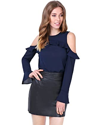 477d3cac8b4 KRISP 2403-NVY-14  Cold Shoulder Ruffled Chiffon Blouse Navy  Amazon.co.uk   Clothing