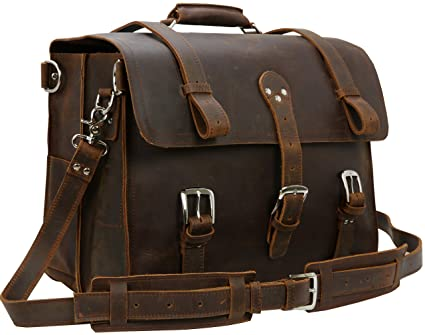 fa42e68cb38f Iswee Retro Full Grain Crazy Horse Leather Mens Multi-Functional Bag  Briefcase Laptop Messenger Bags